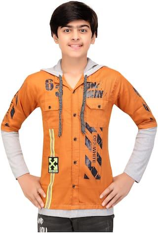 XBOYZ Boy Cotton blend Printed Shirt Brown