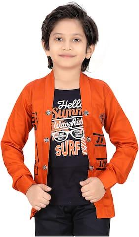 XBOYZ Boy Cotton blend Printed Summer jacket - Orange