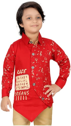 XBOYZ Boy Cotton blend Printed Shirt Red