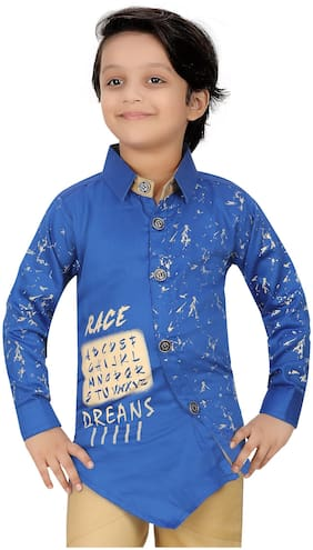 XBOYZ Boy Cotton blend Printed Shirt Blue