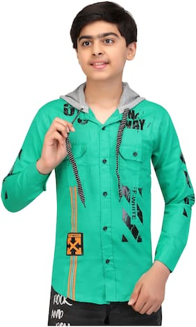 XBOYZ Boy Cotton blend Printed Shirt Green