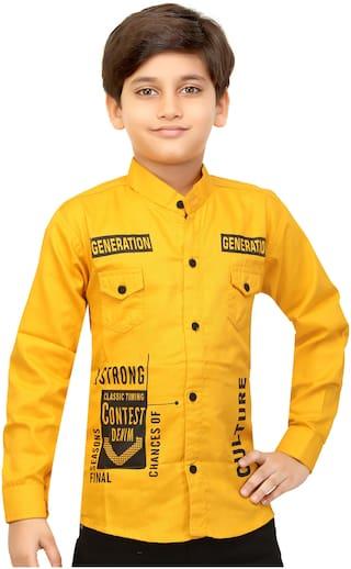 XBOYZ Boy Cotton blend Printed Shirt Gold