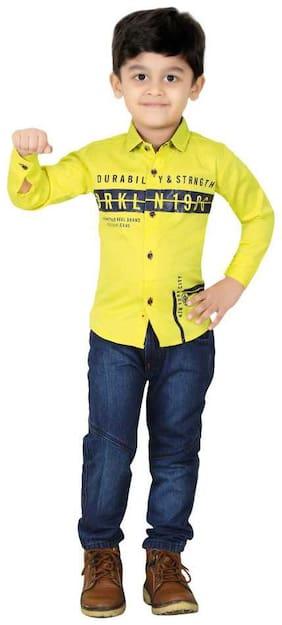 XBOYZ Cotton Printed Top & Bottom Set - Yellow & Blue