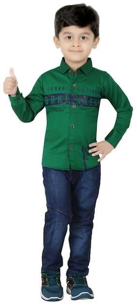 XBOYZ Cotton Printed Top & Bottom Set - Green & Blue