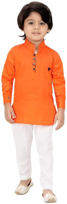 XBOYZ Boy Cotton blend Solid Kurta pyjama set - Orange & White