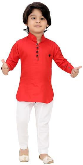 XBOYZ Boy Cotton blend Solid Kurta pyjama set - Red & White