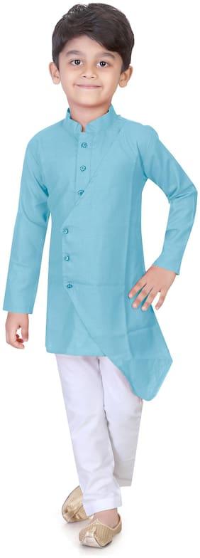 XBOYZ Boy Cotton blend Solid Kurta pyjama set - Blue