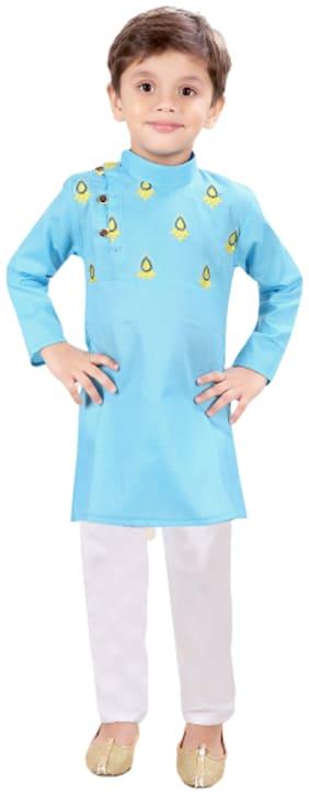 XBOYZ Boy Cotton blend Printed Kurta pyjama set - Blue