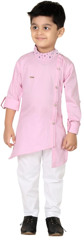 XBOYZ Boy Cotton blend Solid Kurta pyjama set - Pink
