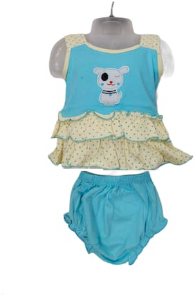 XBOYZ Baby girl Cotton Printed Frock with bloomer - Blue