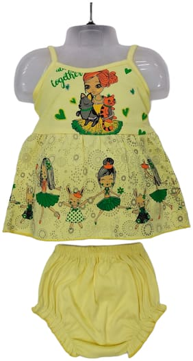 XBOYZ Baby girl Cotton Printed Frock with bloomer - Yellow