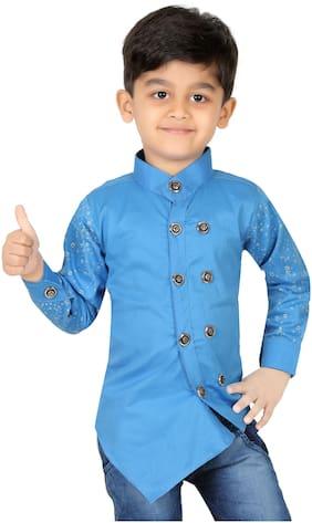 XBOYZ Boy Cotton blend Printed Shirt Blue