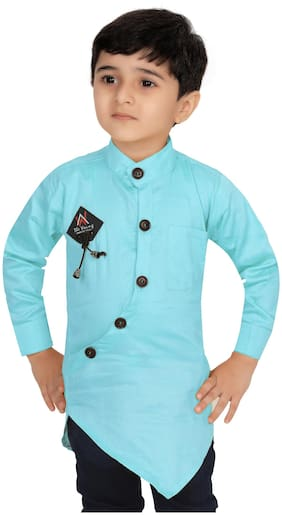 XBOYZ Boy Cotton blend Solid Shirt Blue