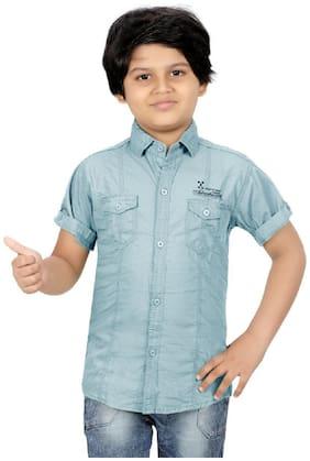 XBOYZ Boy Cotton blend Solid Shirt Blue