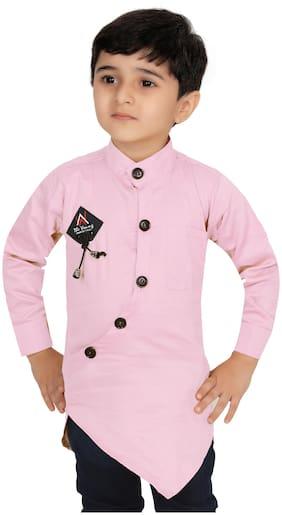 XBOYZ Boy Cotton blend Solid Shirt Pink