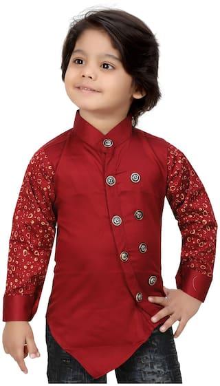 XBOYZ Boy Cotton blend Printed Shirt Maroon