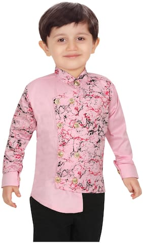 XBOYZ Boy Cotton blend Printed Shirt Pink