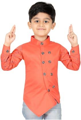 XBOYZ Boy Cotton blend Printed Shirt Orange