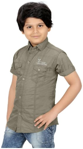XBOYZ Boy Cotton blend Solid Shirt Grey