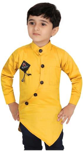 XBOYZ Boy Cotton blend Solid Shirt Yellow
