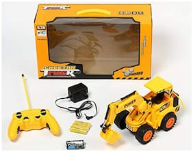 yatri enterprise Rechargeable Excavator Construction JCB Truck Toys With Batteries Wireless Remote Control Model :8026E - Yellow And Black
