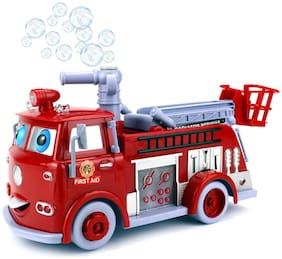 yatri enterprise Cartoon Fire Rescue Pumper Bubble Blowing Bump & Go Battery Operated Toy Truck w/ Extending Crane