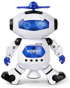 yatri enterprise White Naughty Dancing Robot LED Light and Music Toy