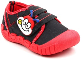YAU Kid's Girl's Boys Fashionable Black Red Cartoon Monkey Face Velcro Closure Outdoor;Partywear Casual Sneakers Shoes...
