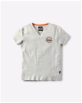 YB DNMX By Reliance Trends Boy Blended Solid T-shirt - White