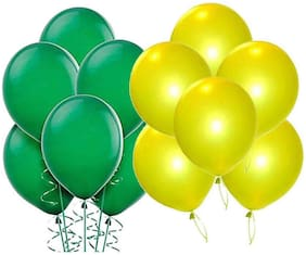 Yellow And Green Metallic Balloons For Birthday Party Decoration (Green;Yellow;Pack of 200pcs)