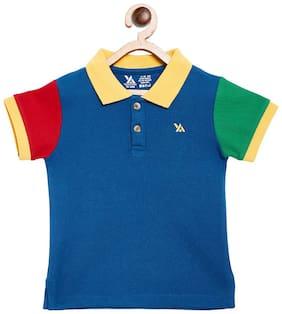 Yellow Apple Boy Cotton blend Printed T-shirt - Blue