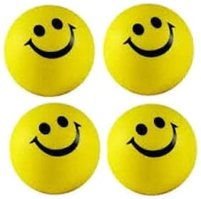 Yellow & Black Smiley Face Squeeze Stress Ball (Pack Of 4)