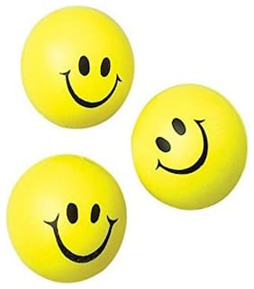 Yellow & Black Smiley Face Squeeze Stress Ball (Pack Of 3)