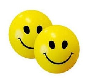 Yellow & Black Smiley Face Squeeze Stress Ball (Pack Of 2)