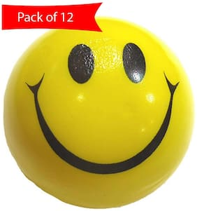 Yellow & Black Smiley Face  Ball (Pack Of 12)