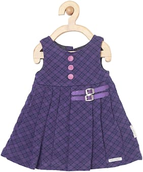 Yellow Duck Baby girl Cotton Solid Princess frock - Purple