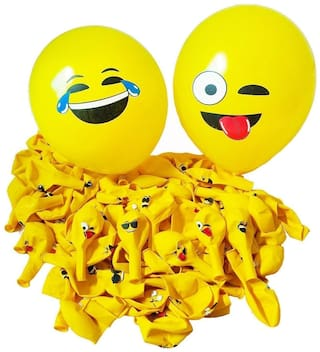 Yellow smiley Emoji Expressions party balloons Birthday Balloons (Pack of 25)