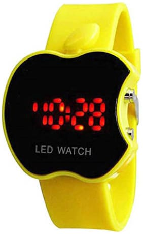 Yellow Sport Led Apple Shape Kids Watch