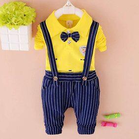 Sugar Rush Yellow T-Shirt With Vertical Strip Suspender Pant Set