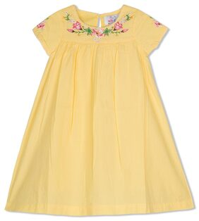 Young Birds Girl Cotton Printed Frock - Yellow