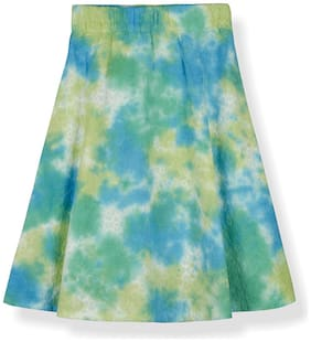 Young Birds Girl Cotton Tie & dye A- line skirt - Green