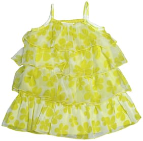 Young Birds Baby girl Chiffon Printed Off shoulder frock - Yellow