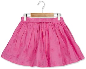 Young Birds Girl Cotton Embroidered A- line skirt - Pink