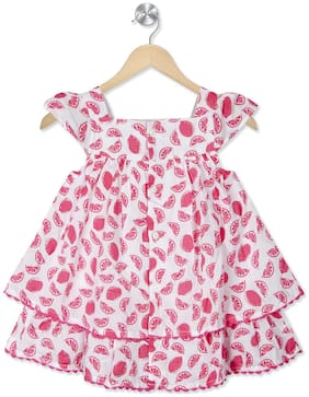 Young Birds Baby girl Modal Printed Princess frock - Pink & White