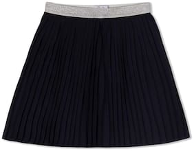 Young Birds Girl Polyester Solid A- line skirt - Blue