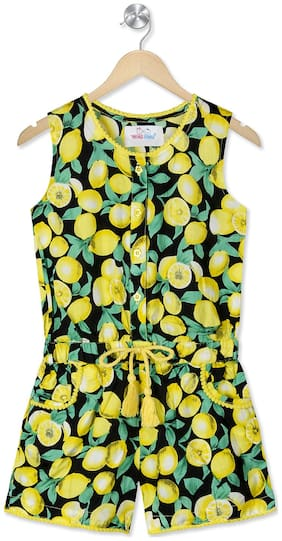Young Birds Viscose Printed Dungaree For Girl - Yellow