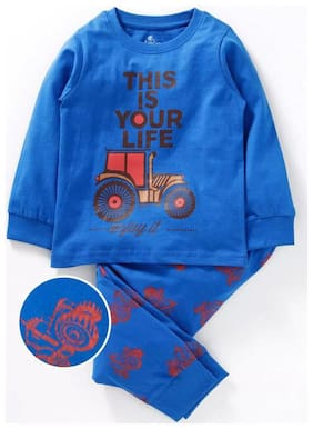 Your Life Chest Print Tee With AOP Pant Night set;Royal Blue;10-12Y