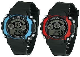 Ys Combo Of Digital Watch With Adjustable Pu Strap For Girl's