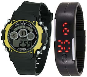Ys Combo Of Digital Watch With Adjustable Pu Strap For Girl's (kids )
