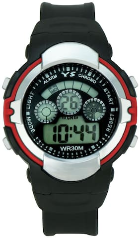 Ys Digital Watch With Black Dial & Pu Strap For Boy's